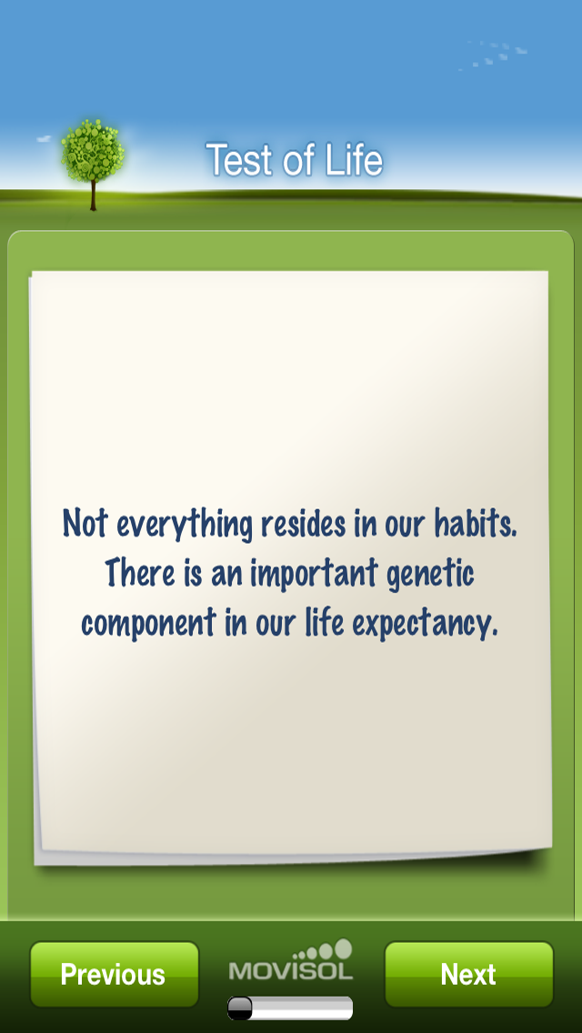 Test of Life: expectancy to live calculator in habits and genetics screenshot