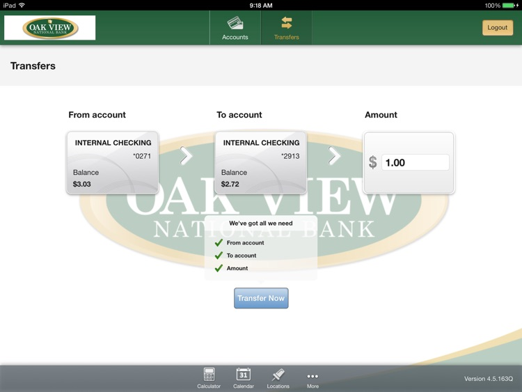 Oak View National Bank for iPad screenshot-3