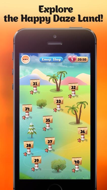 Happy Daze - Match 3 Puzzle Game with Emoji Keyboard Characters screenshot-3