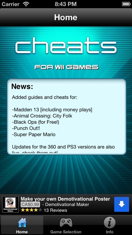 Cheats for Wii Games