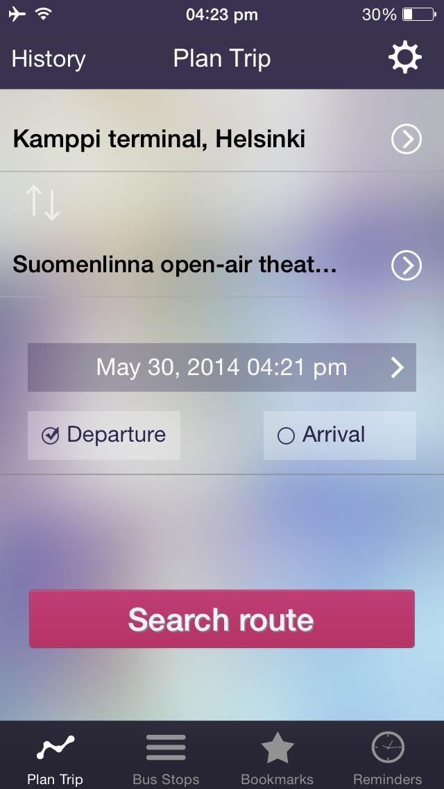 OnTimely-Helsinki, reittiopas, aikataulu ja pysäkit, HSL, kartta reitti, reitin päästöt, reittihaku, journey planner screenshot one