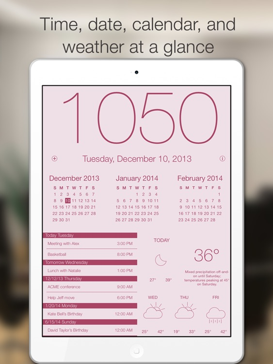 Work Time HD - Elegant desk top clock for iPad with calendar and weather screenshot-2
