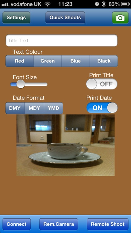 Self Timer with Remote Control and Print Date/Title/Location Option screenshot-4