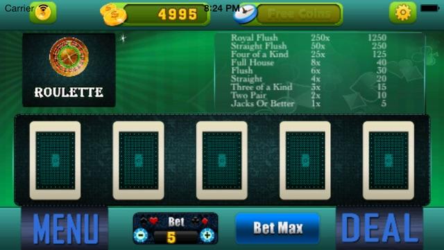 Five Card Stud - Free Straight Poker Game Screenshot