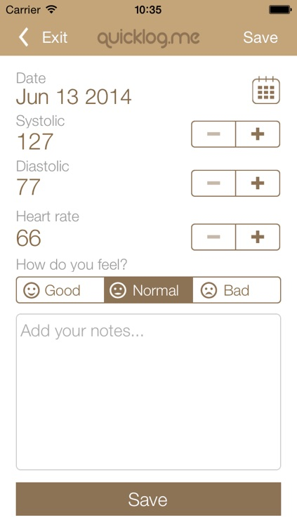 Blood Pressure Tracker QuickLog.me screenshot-3