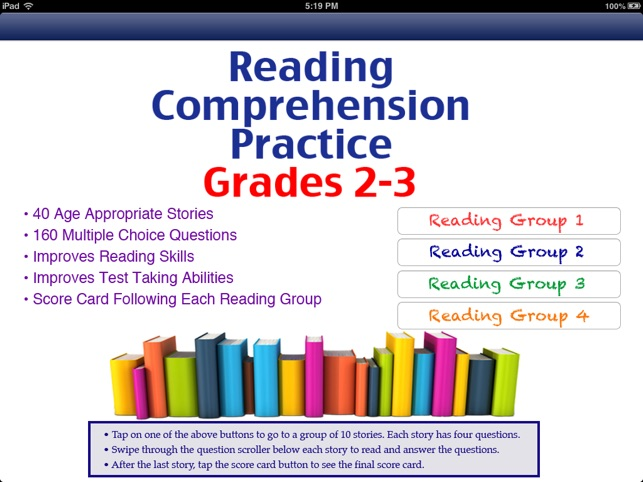 Reading Comprehension: Grades 2-3, Free on the App Store