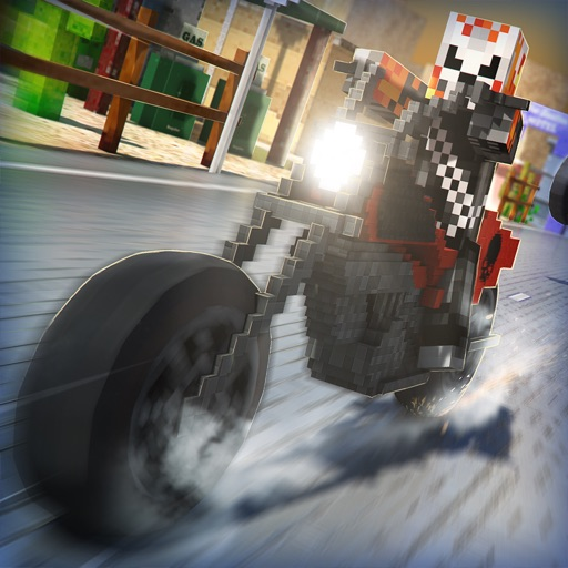 Cube Motorcycle City Roads: Free Block Racing Games Edition