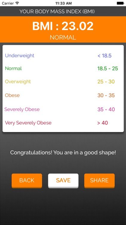 BMI Calculator - Body Fat Percentage screenshot-3