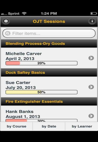 Screenshot of OJT Checklist