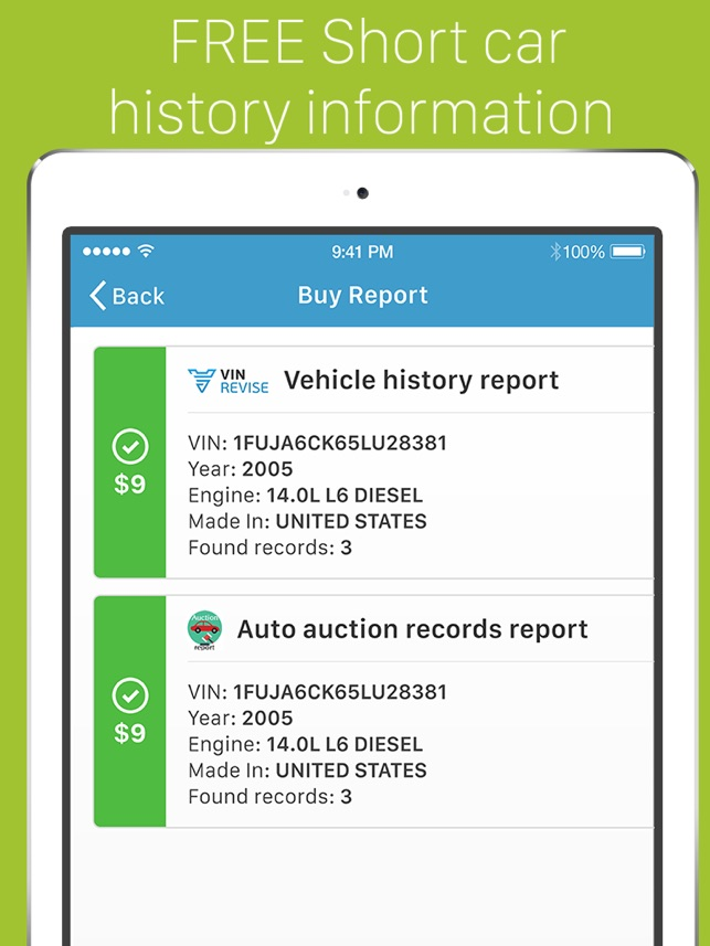 VIN Revise: instant access to car history check. on the App Store