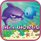 Sharks and friends in the underwater world icon