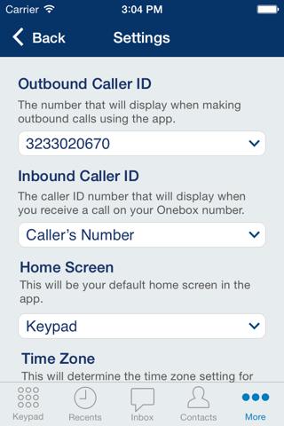 Screenshot of Onebox® – business phone app