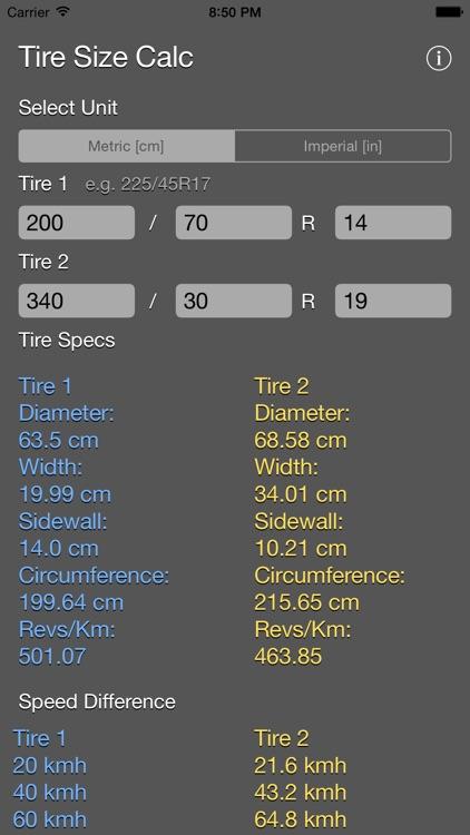 Tire Size Calculator Plus screenshot-3