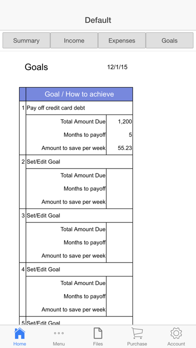 Household Budget Screenshots