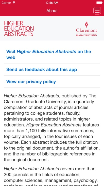 Higher Education Abstracts
