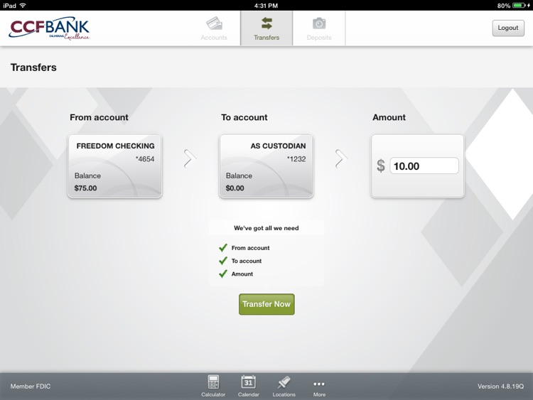 CCFBANK Mobile for iPad screenshot-3