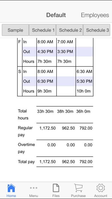 Employee Schedule Screenshots