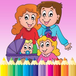 My Family Coloring Book Drawing Painting for kids free game