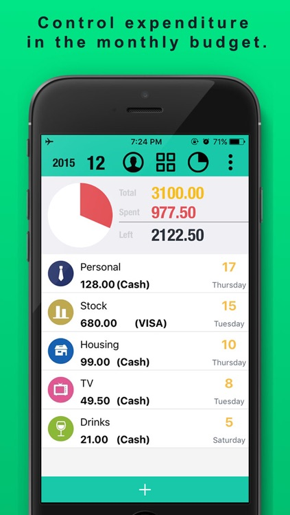 Spending Tracker SpendNext2 - Monthly Budget and expense planner with accounts checkbook
