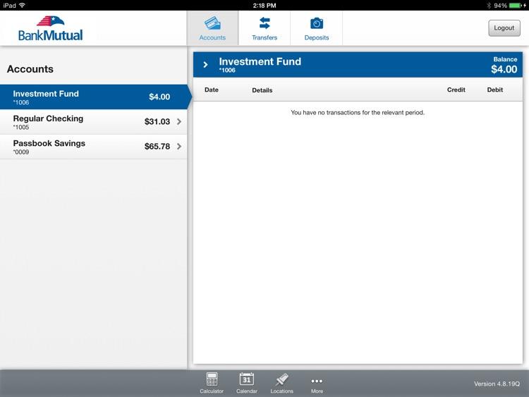 Bank Mutual Mobile Banking for iPad