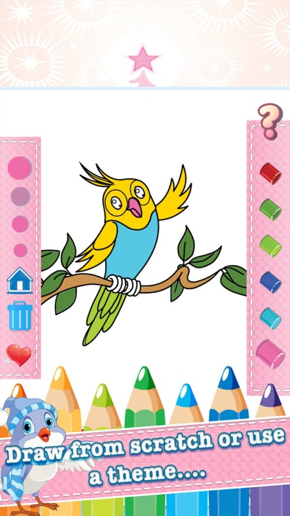 Bird Drawing Coloring Book Cute Caricature Art Ideas Pages For Kids By Pisan Kemthong