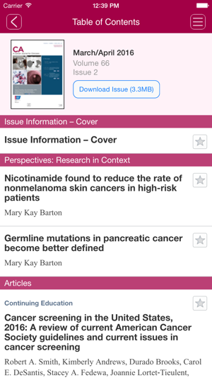CA: A Cancer Journal for Clinicians on the App Store