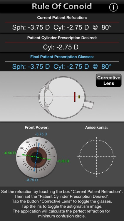 """Rule Of Conoid - Simulate the """"circle of least confusion"""" on prescription eyeglasses."""