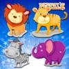 动物园里的动物拼图为学龄前儿童和孩子