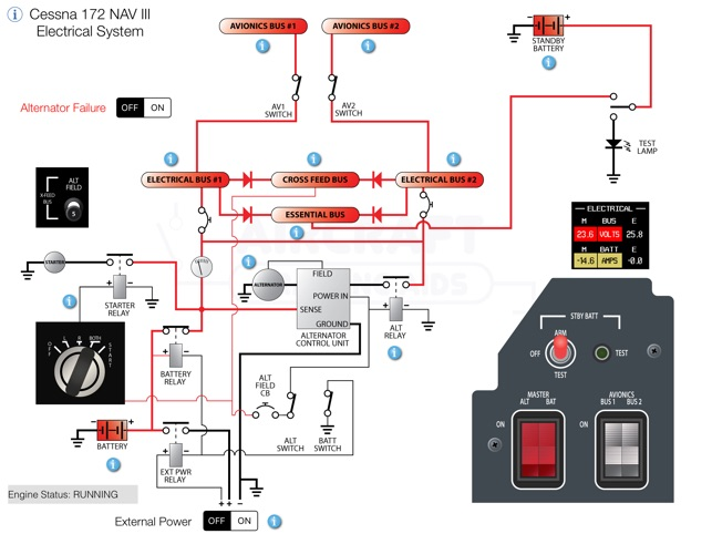 cessna 172 nav iii electrical system on the app store cessna 172r wiring diagram at Cessna 172s Wiring Diagram