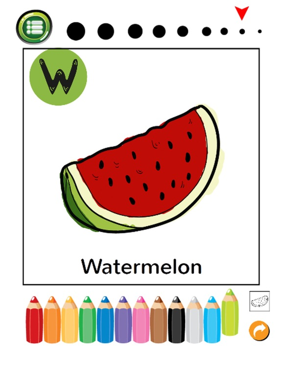 Screenshot 2 For ABC Fruits And Vegetables Coloring Book Learning English Vocabulary Free