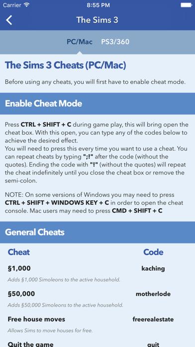 Cheats for The Sims screenshot three