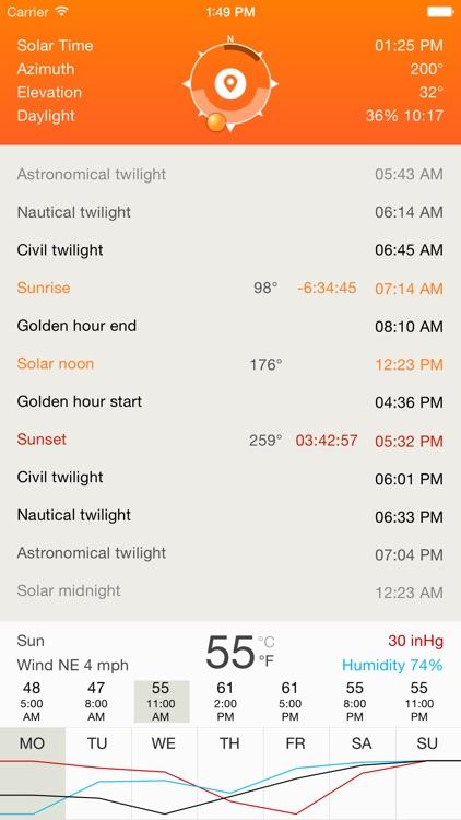 Deluxe Sun - sunrise, sunset, twilight and compass screenshot-0