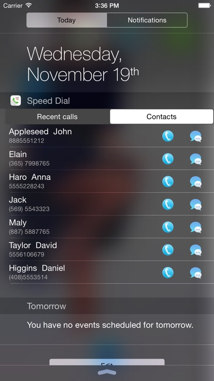 Speed Dial Widget - Call&SMS in Notification Center