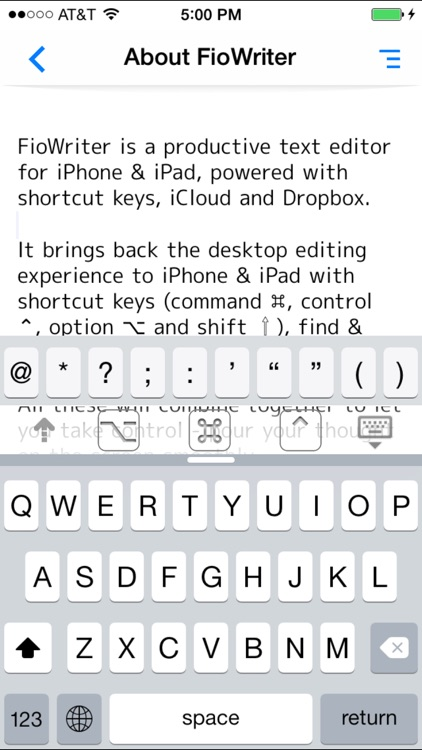 FioWriter - Productive text editor for iPhone & iPad with command keys and cloud sync screenshot-4