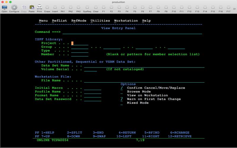 Screenshot of Mocha TN3270 Lite