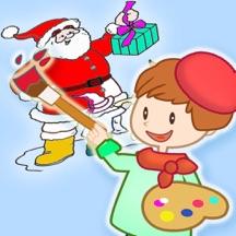 儿童圣诞节手指画涂色&图画书大全 - 圣诞老人 - 圣诞树和礼物