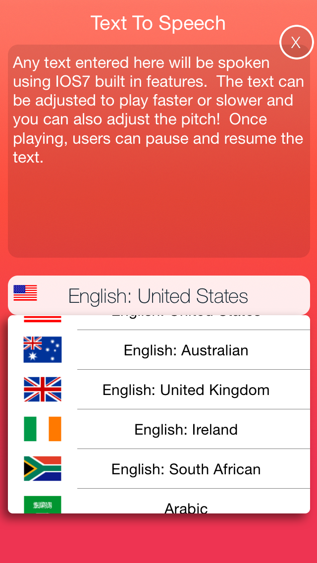Text to Speech. Screenshot on iOS