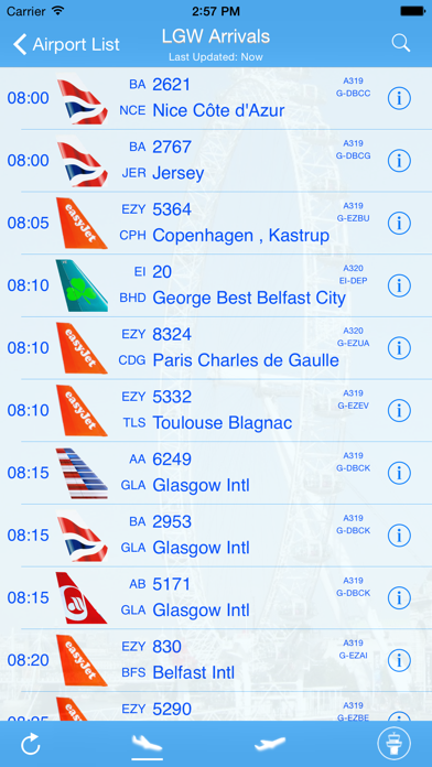 London Gatwick iPlane Flight Information screenshot one