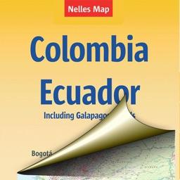 Colombia, Ecuador. Tourist map.