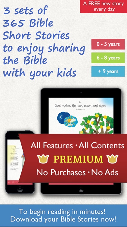 365 Bible Stories PREMIUM – A daily illustrated Bible short story for your Kid, Christian Family, Church and Sunday School screenshot-0