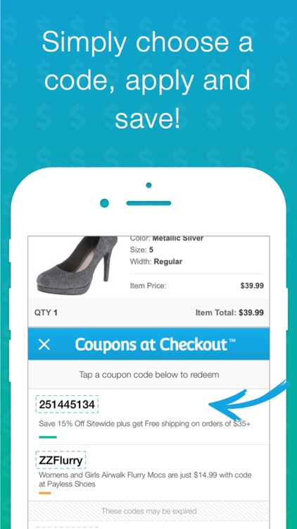 Coupons at Checkout • Find savings in a single tap