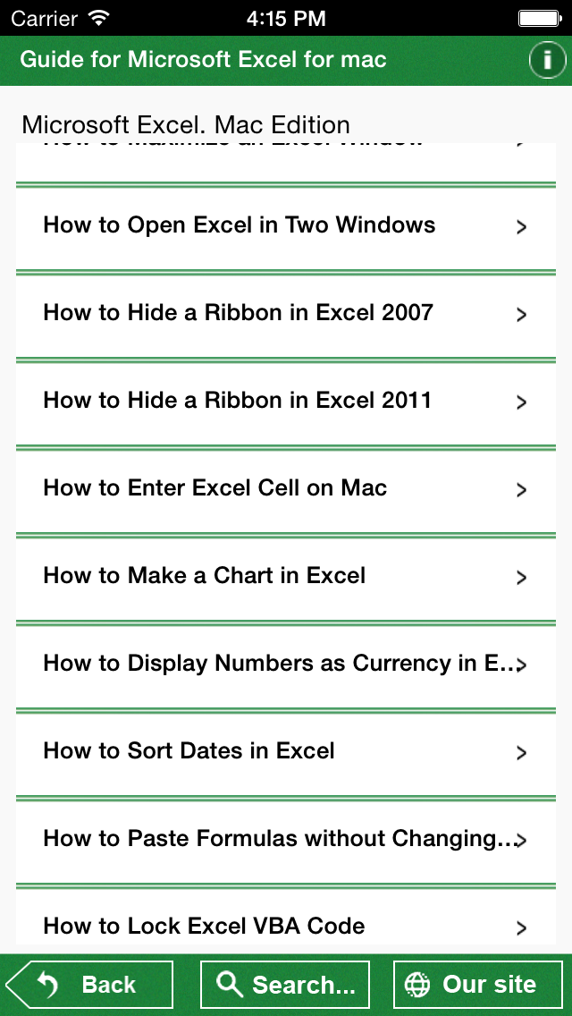 Guide for Microsoft Excel for Mac screenshot two