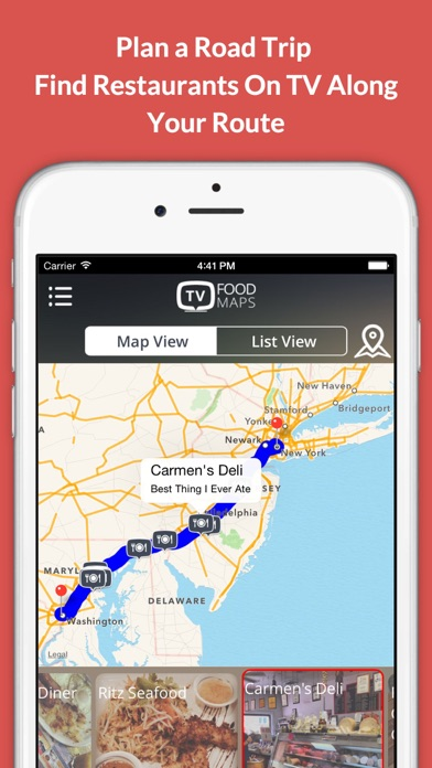 TV Food Maps - Restaurants on TV, Road Trip Planner, Diners, Drive-Ins & Dives, Man vs. Food & More Screenshot