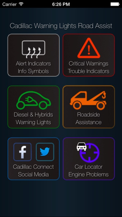 App for Cadillac with Cadillac Warning Lights & Road Assistance