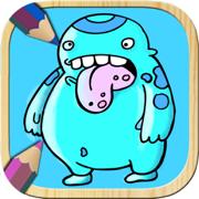 比赛画万圣节怪物儿童:颜色德古拉,巫婆和怪物