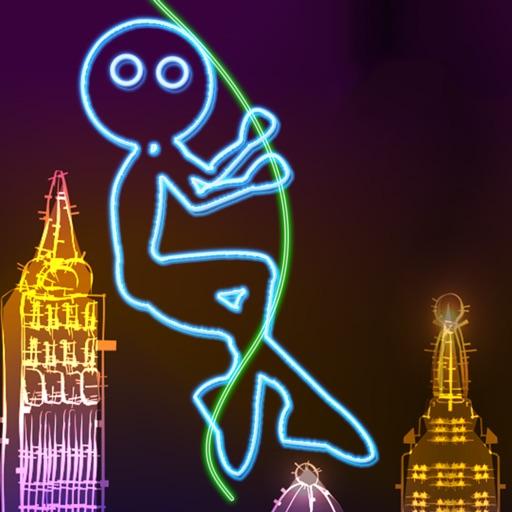 неон город размахивая : пылающий тряпка кукла супер летать с веревка