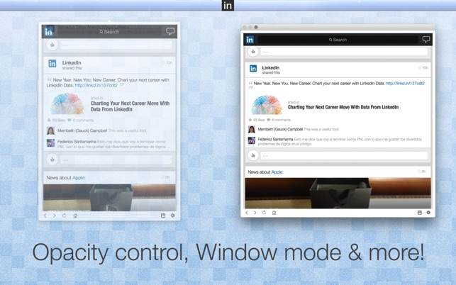 App for Linkedin - Menu Bar or Window Experience - It's About Time