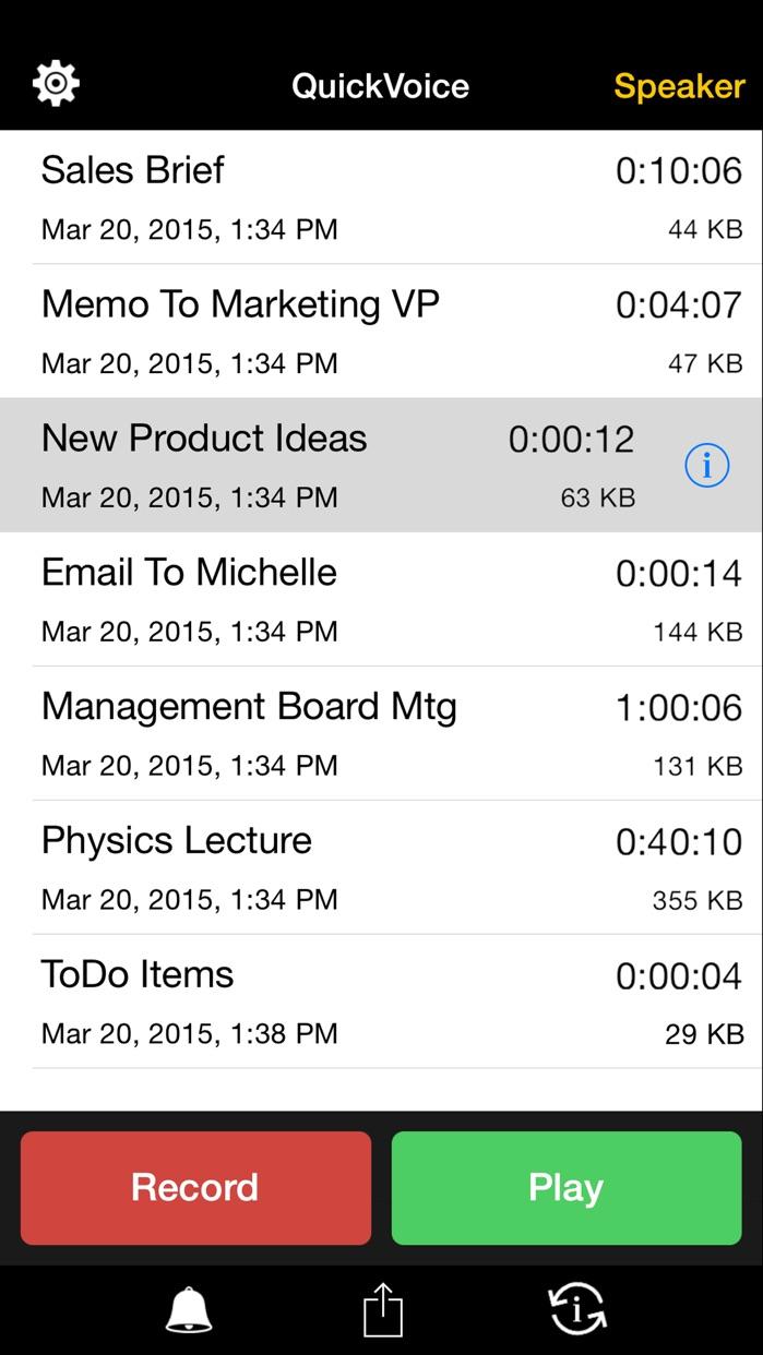 QuickVoice® Recorder Screenshot