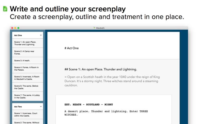 Screenwriting app