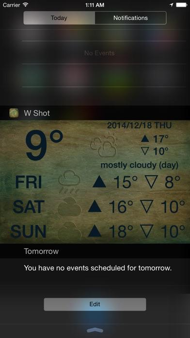 W Shot - 免解鎖顯示天氣預報於通知中心屏幕截圖1